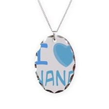 Blue I Heart (Love) Nana Necklace Oval Charm