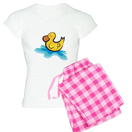 Cute Rubber Ducky in Water Women's Light Pajamas