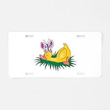 Cute Sleeping Duck Aluminum License Plate