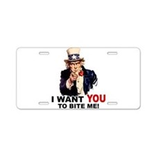 Want You To Bite Me Aluminum License Plate