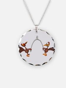 Turkeys Making Wish (Wishbone Necklace