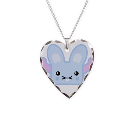 Kawaii Bunny and Crossbones Necklace Heart Charm