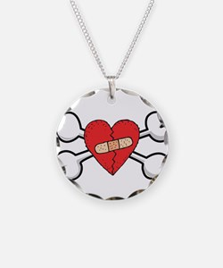 Broken Bandaged Heart & Cross Necklace