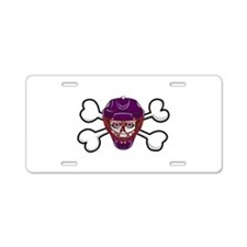 Hockey Skull & Crossbones Aluminum License Pla
