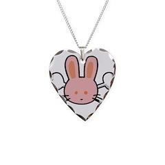 Pink Bunny Rabbit & Crossbone Necklace