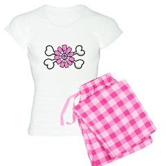 Pink Flower Crossbones Design Women's Light Pajama