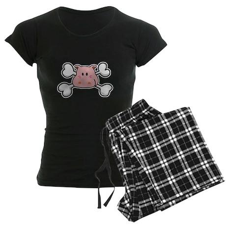 Pink Hippo Crossbones Design Women's Dark Pajamas