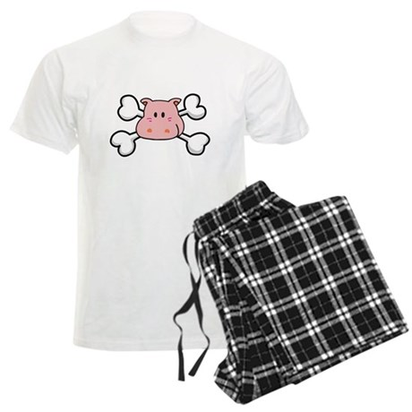 Pink Hippo Crossbones Design Men's Light Pajamas
