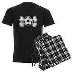 Soccer Ball Crossbones Design Men's Dark Pajamas