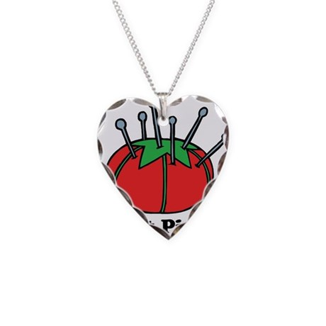 Got Pins? Pin Cushion Necklace Heart Charm