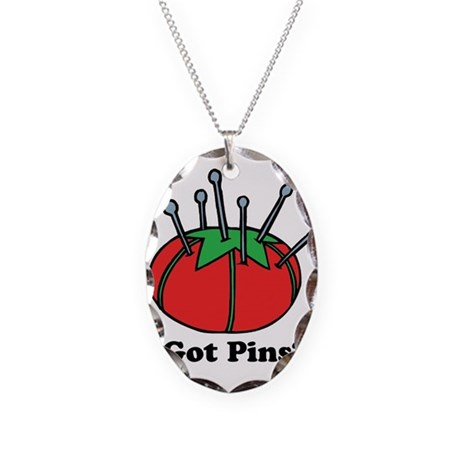 Got Pins? Pin Cushion Necklace Oval Charm