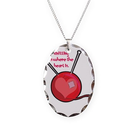 Knitting is Where the Heart I Necklace Oval Charm