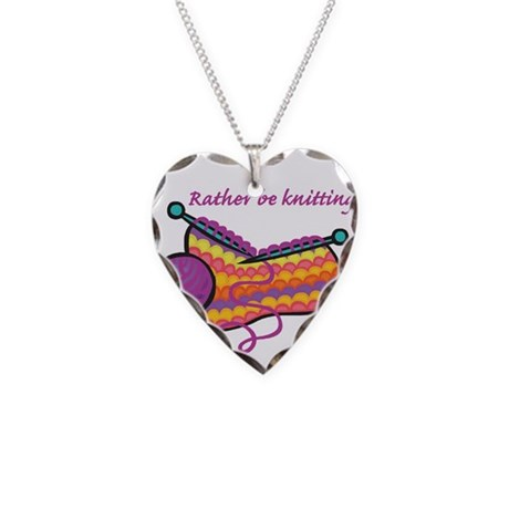 Rather Be Knitting Design Necklace Heart Charm