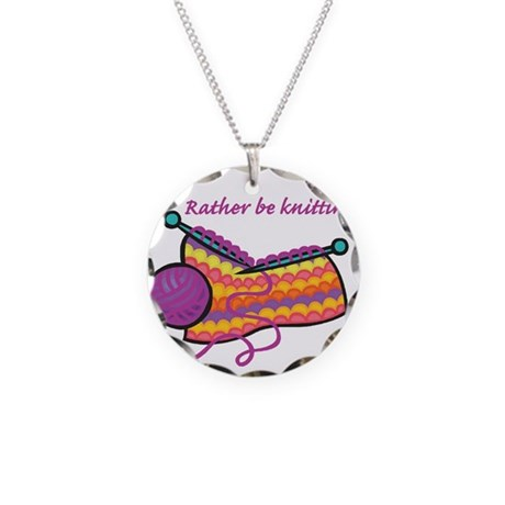 Rather Be Knitting Design Necklace Circle Charm