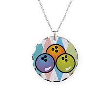 Retro Argyle Bowling Design Necklace