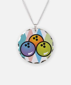 Retro Argyle Bowling Design Necklace