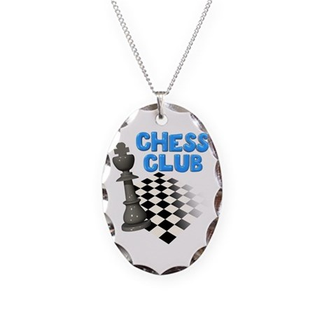 Chess Club Necklace Oval Charm