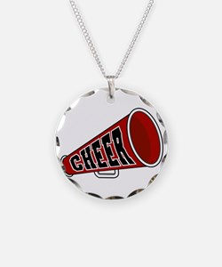 Red Cheer Megaphone Necklace Circle Charm