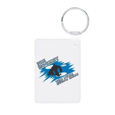 The Puck Stops Here Aluminum Photo Keychain