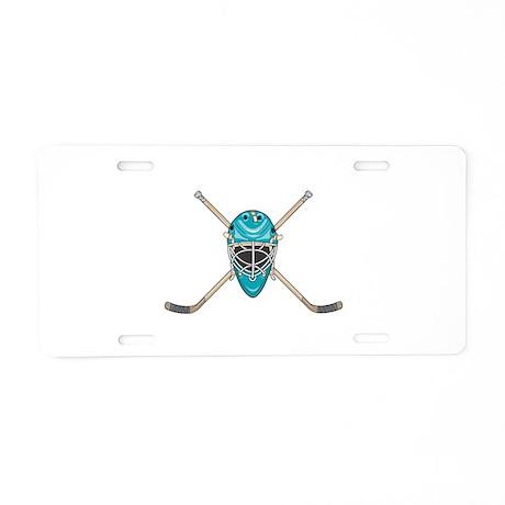 Hockey Goalie Mask and Cross Aluminum License Plat