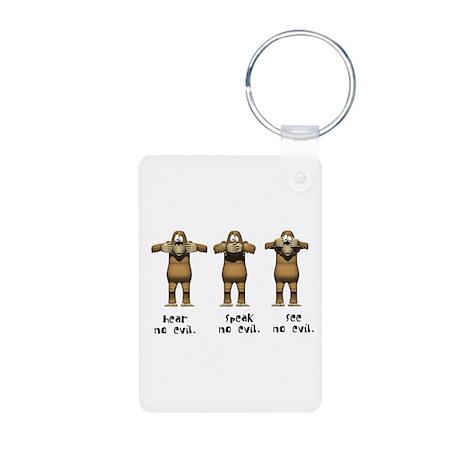 Hear No Evil Monkeys Aluminum Photo Keychain