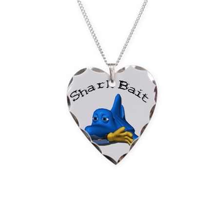 Funny Shark Bait (Bite) Desig Necklace Heart Charm