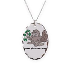 Beaver gives me Wood Necklace Oval Charm