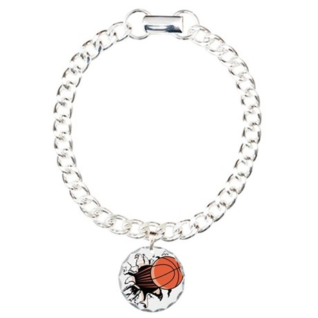 Basketball Ripping Through Charm Bracelet, One Cha
