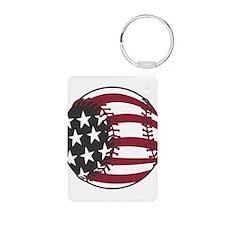 USA Stars and Stripes Basebal Keychains