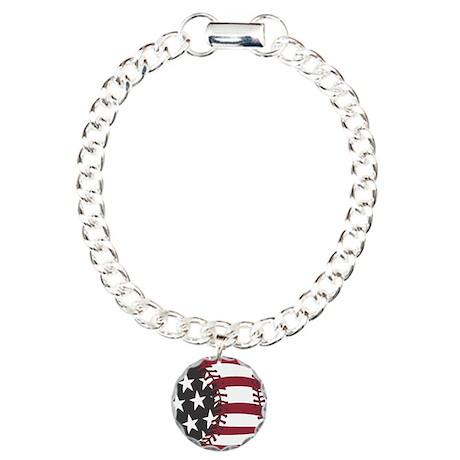 USA Stars and Stripes Basebal Charm Bracelet, One