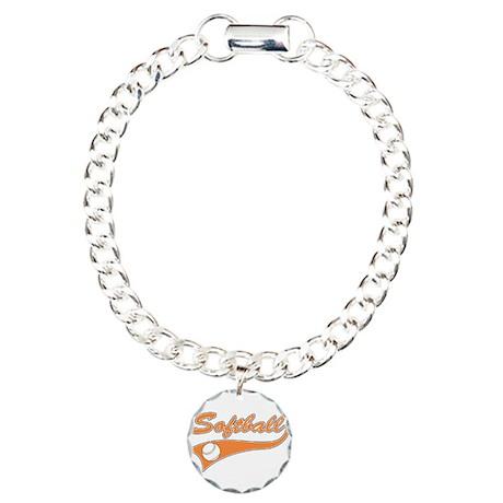 Softball Logo Charm Bracelet, One Charm
