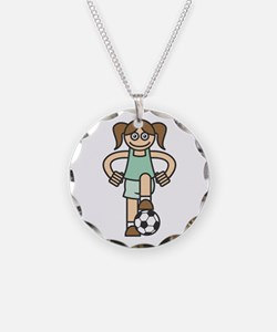 Cute Soccer Girl Necklace Circle Charm