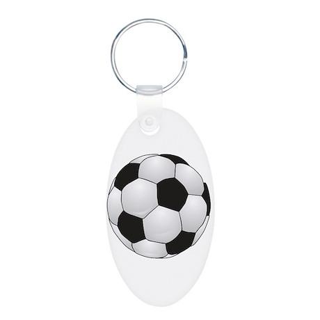 Soccerball II Aluminum Oval Keychain