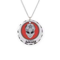 Soccer Alien Head Necklace Circle Charm