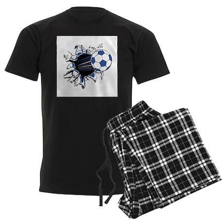 Soccerball Ripping Through Men's Dark Pajamas