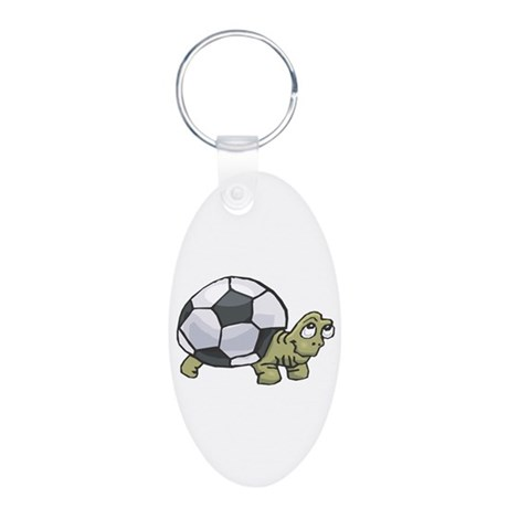 Soccerball Turtle Aluminum Oval Keychain