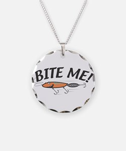 Funny Bite Me Fishing Lure Necklace Circle Charm