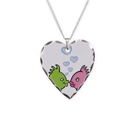 Kissy Love Fish Valentine Necklace Heart Charm