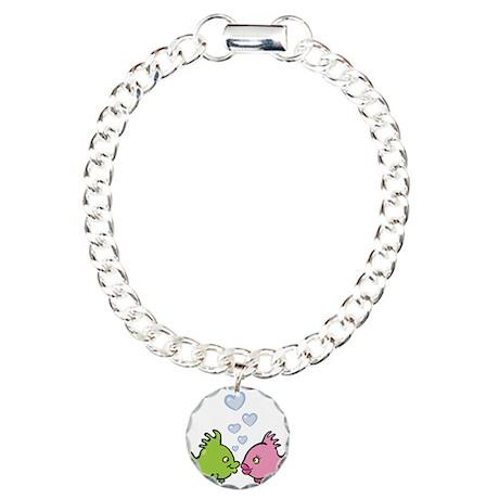 Kissy Love Fish Valentine Charm Bracelet, One Char