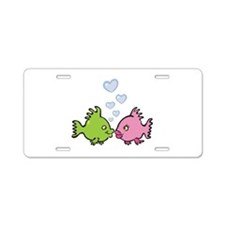 Kissy Love Fish Valentine Aluminum License Plate