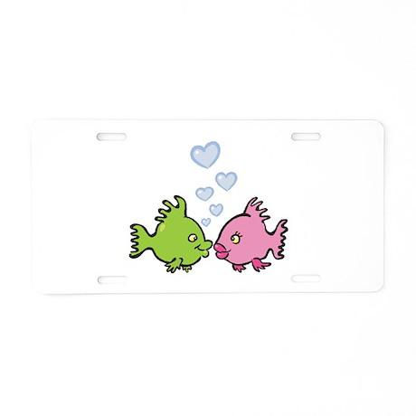 Kissy Love Fish Valentine Aluminum License Plate