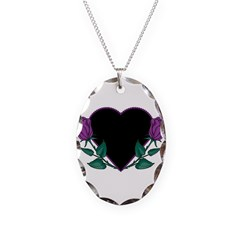 Black Heart & Purple Roses De Necklace