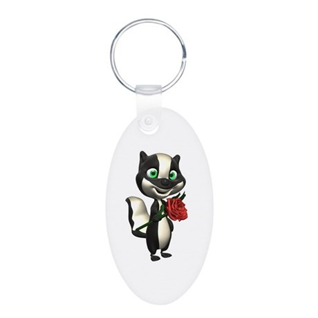 Silly Skunk with Rose Aluminum Oval Keychain