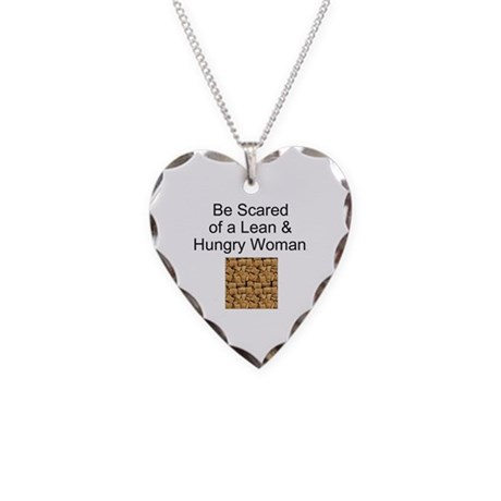 Fitness Woman Humor Necklace Heart Charm