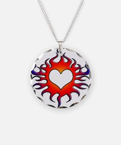 Tribal Flames Heart Design Necklace