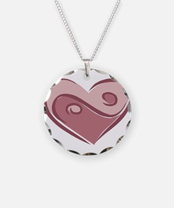 Ying Yang Heart Design Necklace Circle Charm