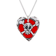 Poison Skull Necklace Heart Charm