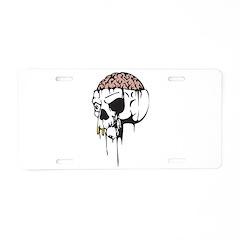 Dripping Brain Evil Skull Aluminum License Plate