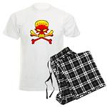 Flaming Skull & Crossbones Men's Light Pajamas