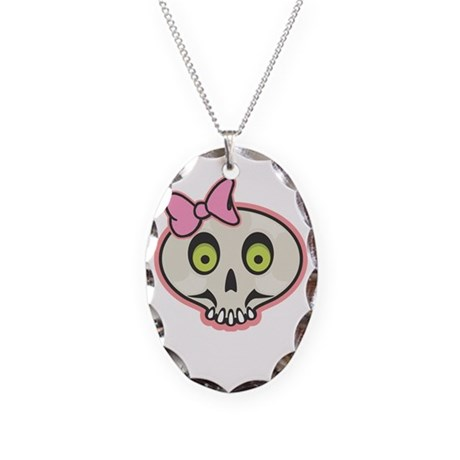 Cute Pink Girl Skull Face Necklace Oval Charm